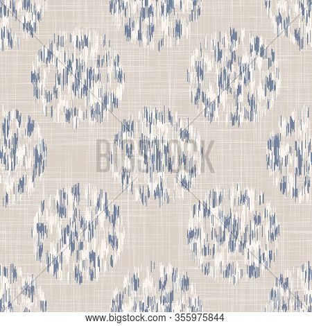 French Shabby Chic Stylized Dotty Vector Texture Background. Linen Blue Polka Dot Glitch Seamless Pa