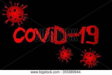 Inscription Covid-19. Official Name For Coronavirus Disease Named Covid-19. Vector Illustrated Crayo