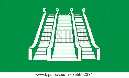 Escalator Icon Isolated On Background Walk, Walkway, White