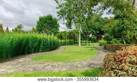 Jogging Track In Garden Of Public Park Among Greenery Trees, Flower Shrub And Bush, Grey Stone Pavem