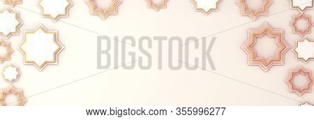 Arabic Star On White Beige Background. Design Creative Concept Of Islamic Celebration Day Ramadan Ka