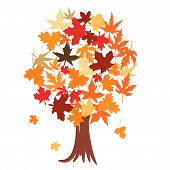 Abstract tree with autumn leaves vector illustration poster