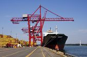 Giant container crane unloading a ship in a major port. See other Port photos in my portfolio! poster