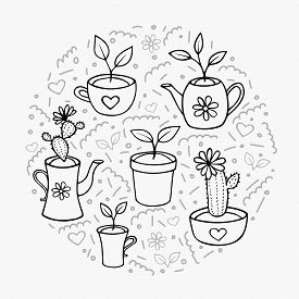 Set Of Home Plants Hand-drawn Doodle Outline. Blooming Cacti And Sprouts With Leaves In Flower Pots,