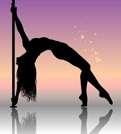 Flexible Dancing Girl In Passionate Dance. Vector Illustration.