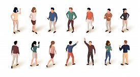 Collection Of Isometric People Isolated Over White Background. Standing And Walking People.