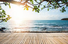 Terrace View Sea With Empty Wooden Table Top On The Beach Landscape Nature With Sunset Or Sunrise /