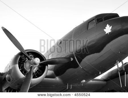 Old Plane In Black And White