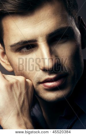 Portrait Of Handsome Young Man, Sexy Guy Looking At Camera