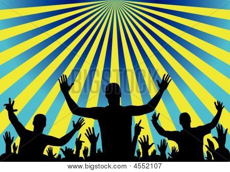 Party Audience Cheering, Vector Background