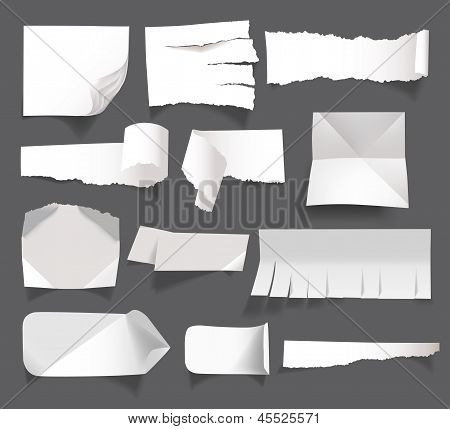 white blank paper messages isolated on background
