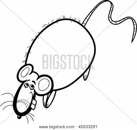 Rat Cartoon Character For Coloring Book