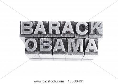 Barack Obama  sign,  antique metal letter-press type isolated poster