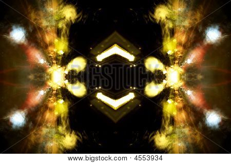 "Motion blurred street lights - abstract fractal-like photo made from ""Colorful street light reflections trough the water drops on the glass"" poster"