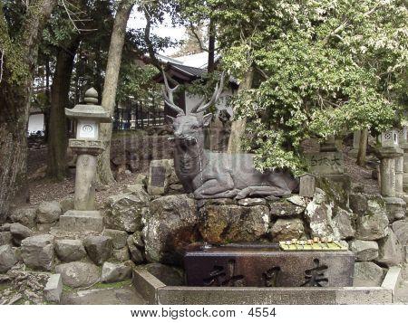 The Statue Sculpture Of Deer