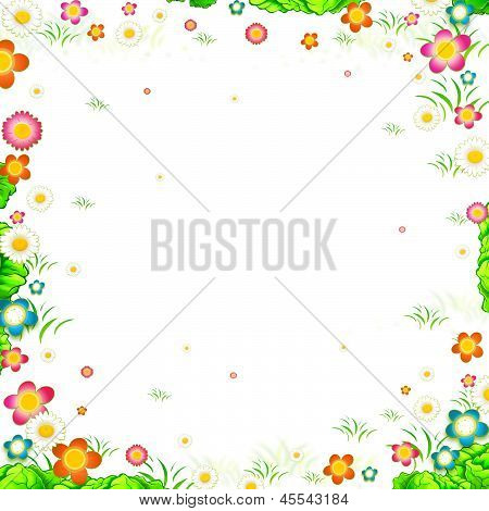 Meadow Flowers Frame Isolated On White