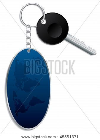 World Map Keyholder With Key
