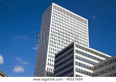 High Buildings with blue sky and moon
