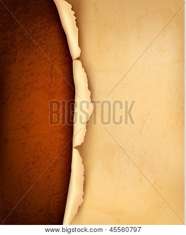 Background With Ripped Vintage Paper. Vector Illustration.