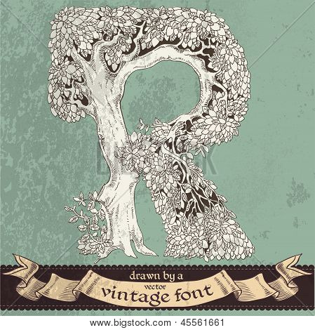 Magic grunge forest hand drawn by a vintage font - R