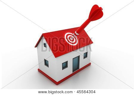 Red dart on house target