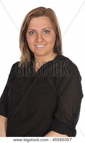 Pretty Blonde Woman Black Shirt