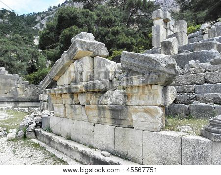 Remains of the gable of a Roman temple-tomb .