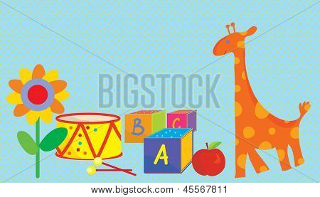 Baby background with toys