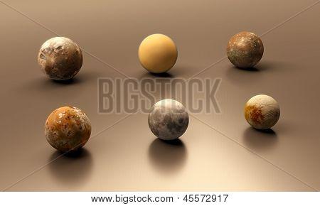 Jupitermoons, The Earth Moon And Titan Blank