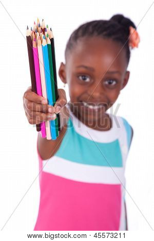 Cute Black African American Little Girl Holding Color Pencil - African People - Children
