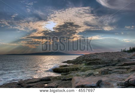 Maine coastline in Acadia National Park near sunset poster