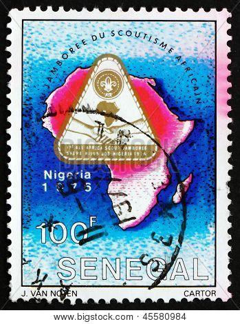 Postage Stamp Senegal 1976 Jamboree Emblem And Map Of Africa