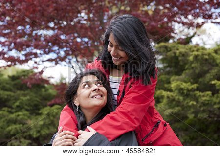 loving mother and daughter