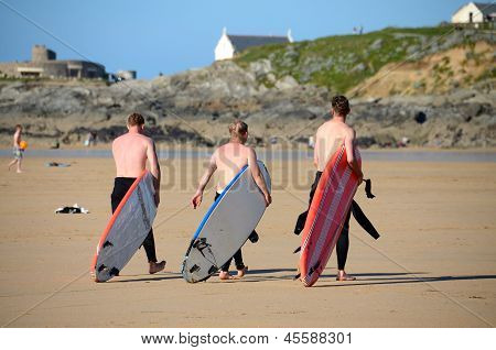 Surfers at Fistral beach, Newquay