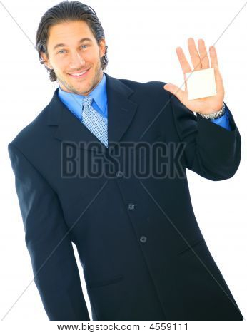 Happy Young Caucasian Male Holding Up