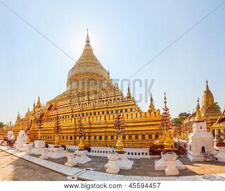 The Shwezigon Pagoda a Buddhist temple in Nyaung-U Bagan Burma poster