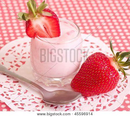 Tasty fresh strawberry smoothie