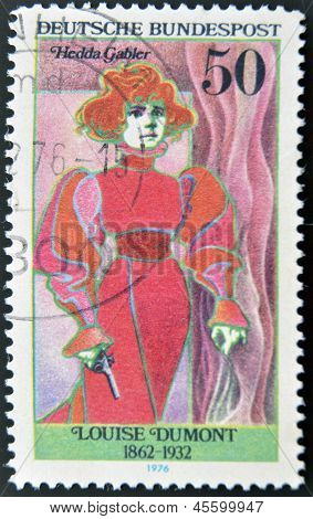 GERMANY - CIRCA 1976: stamp printed in Germany shows portrait Louise Dumont circa 1976