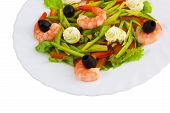 olives dish meal salad shrimp isolated on white background clipping path poster