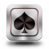 Playing Card pik, brushed aluminum or stainless steel, glossy icon button sign poster