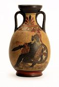 Souvenir exact copy of ancient greek vase isolated on white background poster