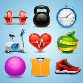 vector icon set for fitness, sport and athletics poster