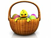 A cute cartoon chicken in an easter basket full of eggs. poster