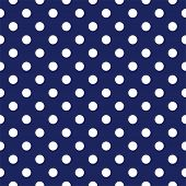 Seamless vector pattern with white polka dots on a dark sailor navy blue background. For cards, invitations, wedding or baby shower albums, backgrounds, arts and scrapbooks. poster