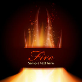 Fire flame on black background with Text space