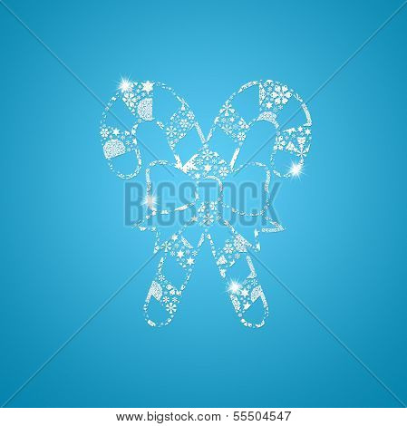 Silhouette Christmas candy. Silhouette filled with small snowflakes poster