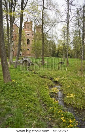 Spring-well with yellow flowers and ruins behind poster
