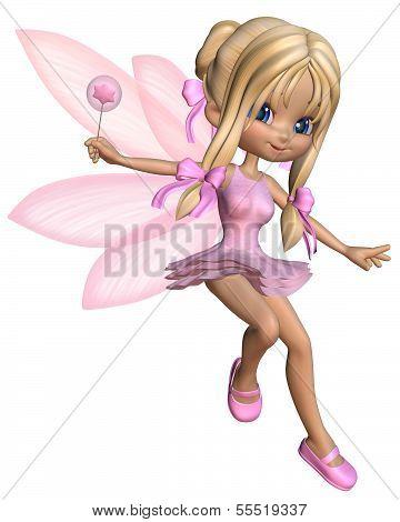 Cute Toon Ballerina Fairy in Pink - jumping