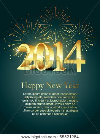 vector 2014 happy new year design with fireworks