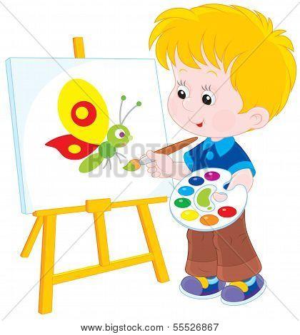 Little artist draws